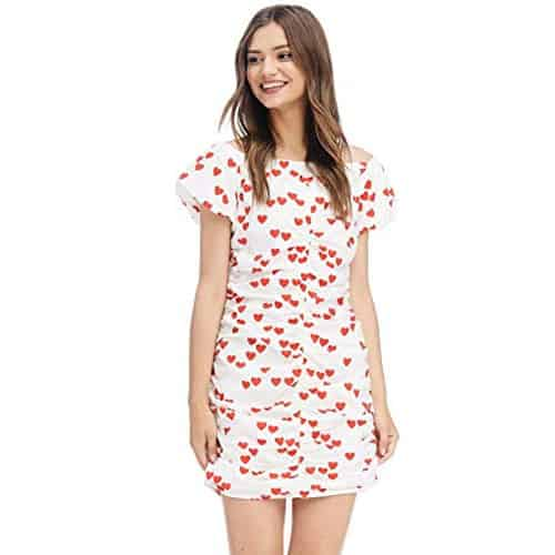 white dress with red printed hearts