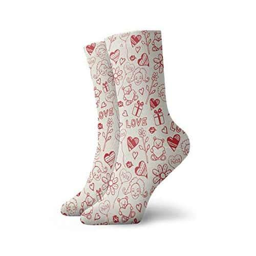 Knee high heart socks