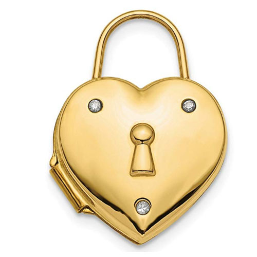Heart locket pendant made with 14k gold and incrusted diamonds