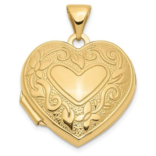 14k gold engraved heart-shaped locket for picture