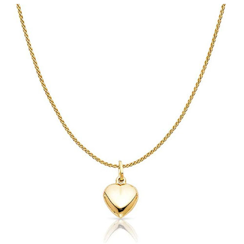 Solid gold heart shaped pendant charm