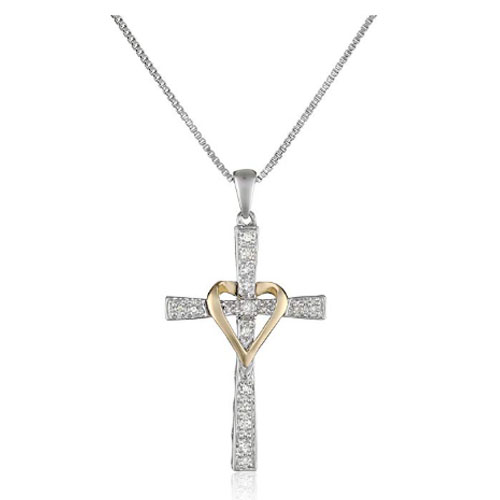 Christian jesus yellow gold heart necklace