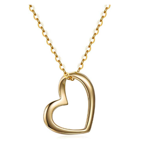 elegant heart shaped pendant to give away yellow gold