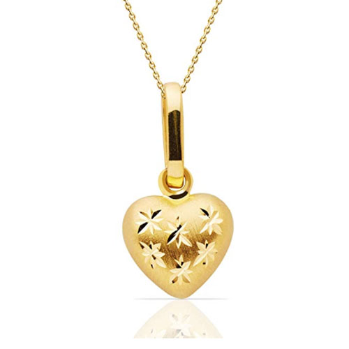 14k yellow gold engraved heart-shaped necklace love gift for girlfriend
