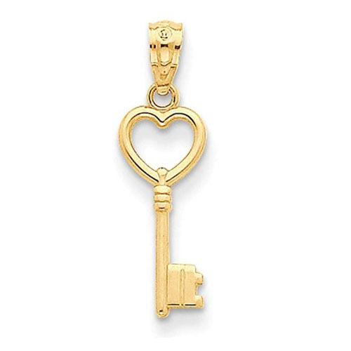14k yellow gold heart key necklace charm gift for girlfriend and wife anniversary