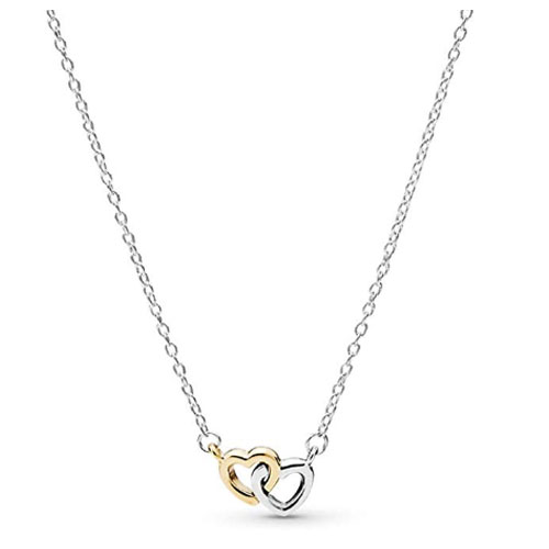 14 quilates carats yellow gold engaged heart necklaces