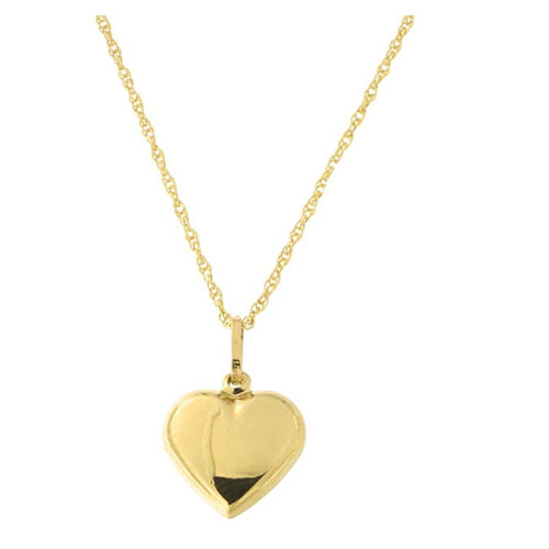 14k yellow solid gold heart shaped pendant charm romantic gift for girlfriend