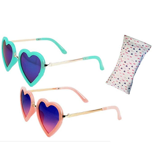Set of two heart-shaped sunglasses (green and orange) for kids