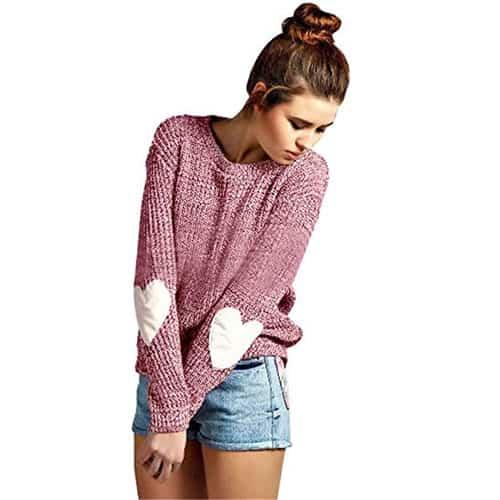 women cozy pink heart sweater