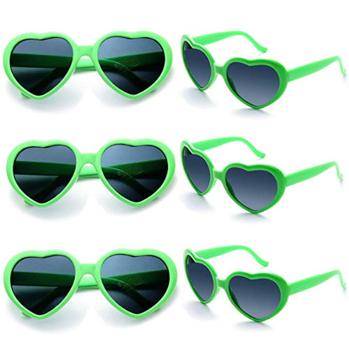 Pack of six heart-shaped green sunglasses for college parties