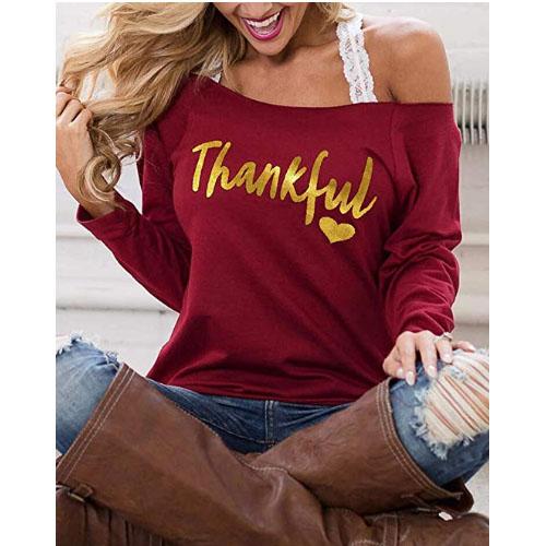 thankful women heart sweater