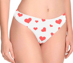 women underwear with red heart symbols