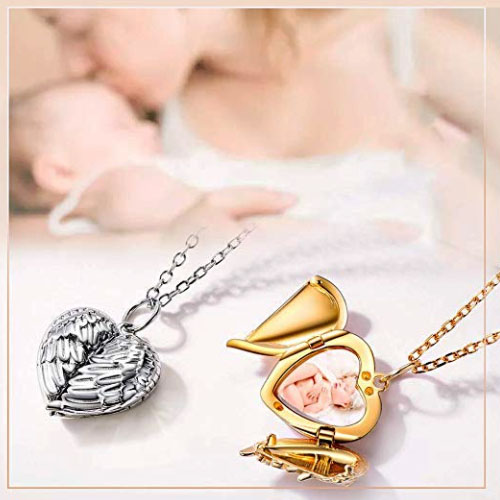Customizable heart locket pendant with wings