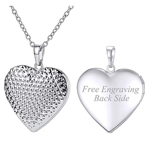 Customized silver heart locket for photo