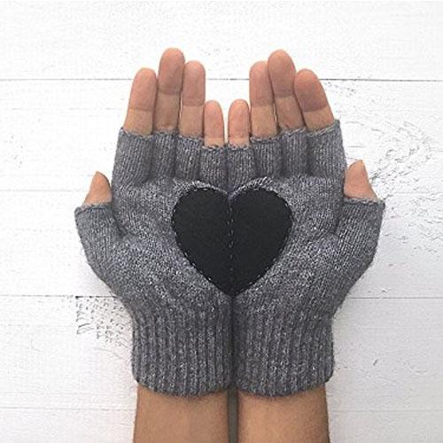 Dark grey heart fingerless gloves in two pieces broken