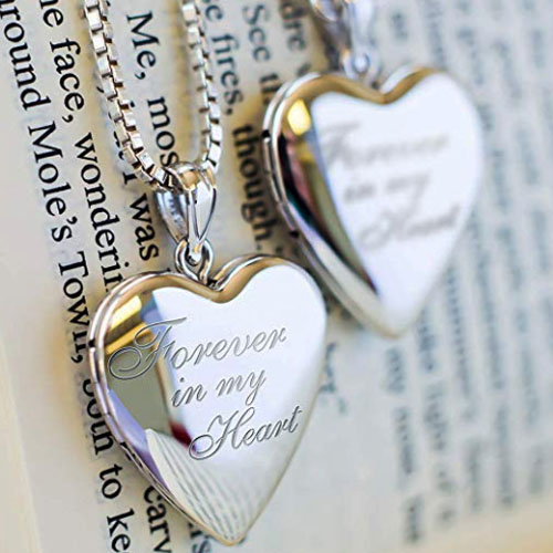 "Sterling silver heart locket ""forever in my heart"" for picture"