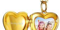 Golden heart shaped locket memory