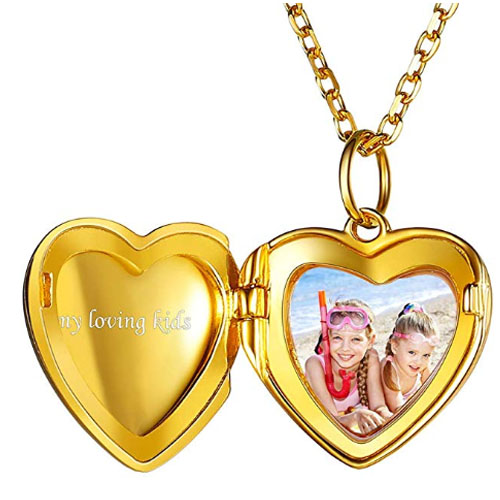 Golden heart shaped locket memory