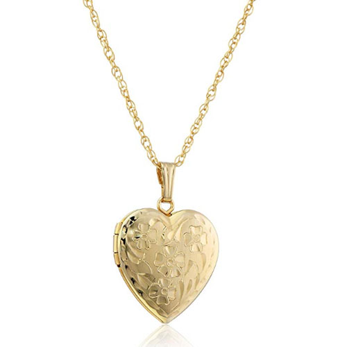 Flower engraved gold heart shaped locket pendant for photo
