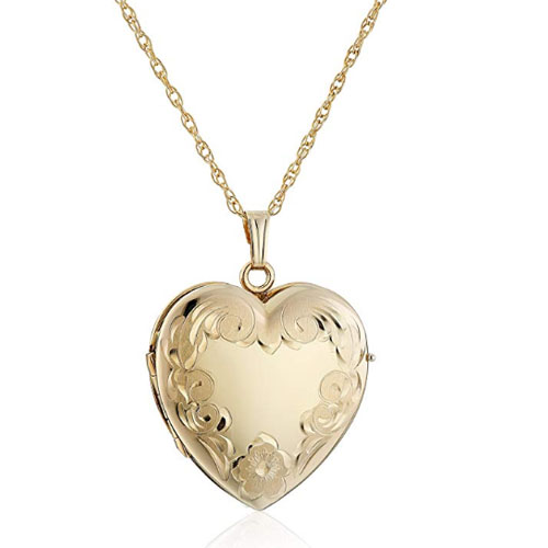 14k yellow gold heart shaped customized picture