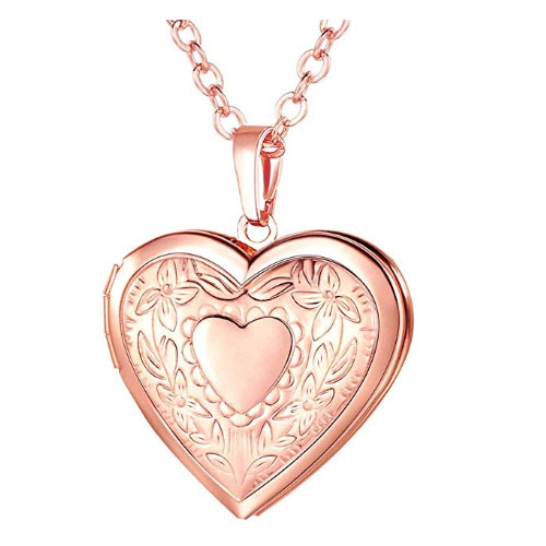 Polished heart shaped memory locket rose gold