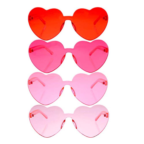 6-Pack light pink heart shaped sunglasses without frame