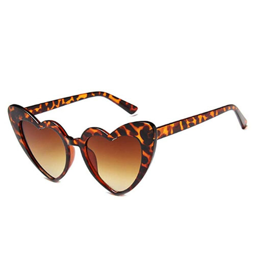 leopard cat style heart shaped sunglasses