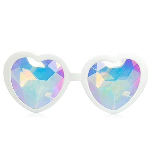 White sunglasses with the shape of a heart