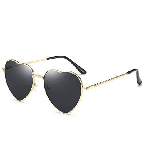 Thin metal frame sunglasses heart shaped lens