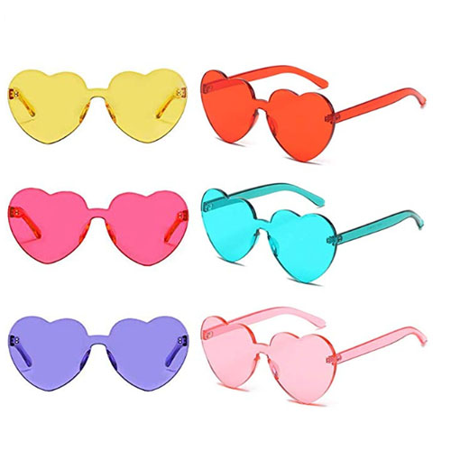 multicolor heart shaped sunglasses without frame