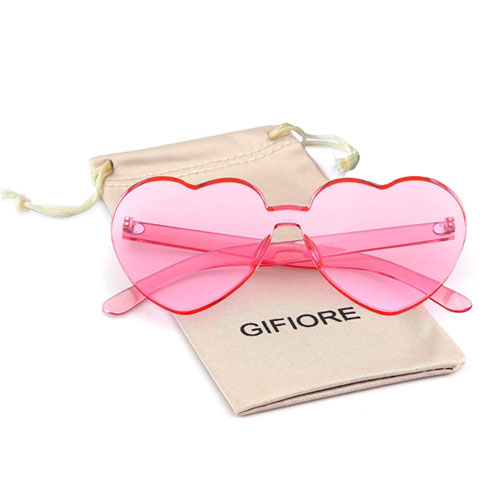 Pink frameless heart shaped lens glasses