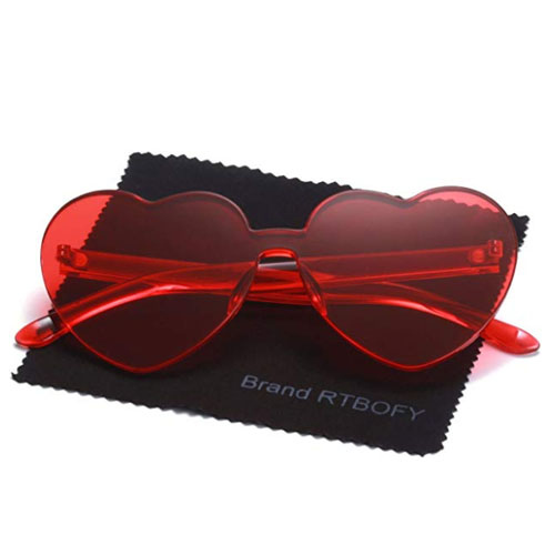 plastic frameless red heart shaped sunglasses