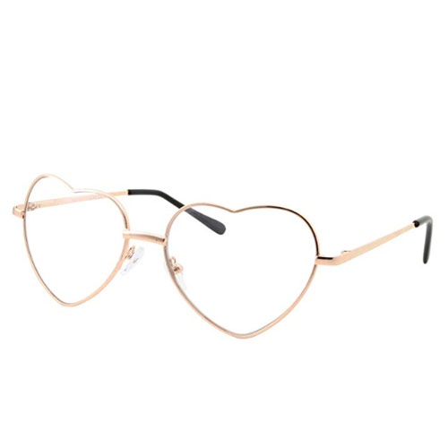 Hipster metal frame sunglasses with the shape of a heart
