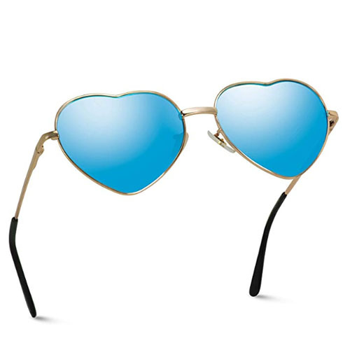 Blue lens heart-shaped sunglasses thin frame
