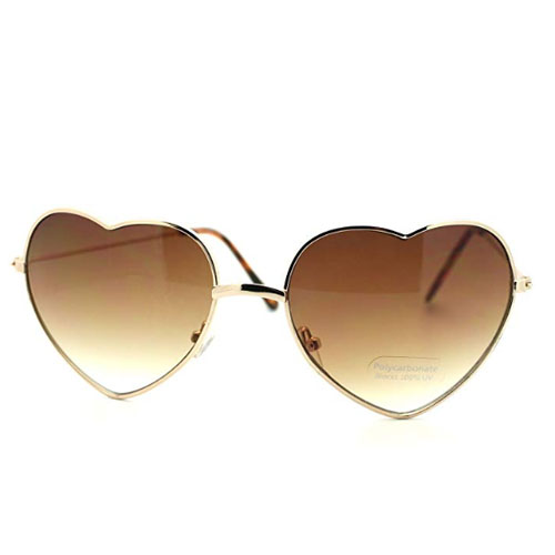 Metal frame heart shaped sunglasses