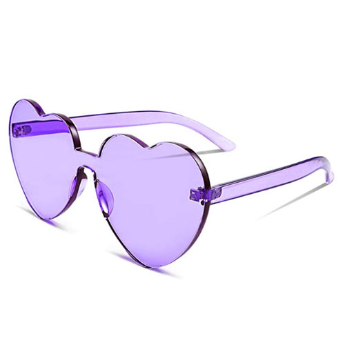 Plastic heart shaped sunglasses purple with no frame at all