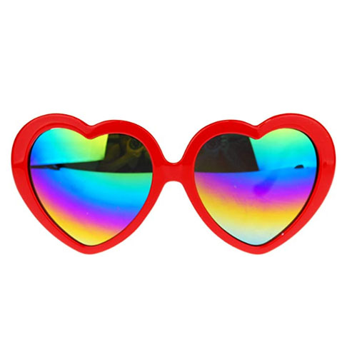 Sunglasses with the shape of the love symbol and red plastic frame