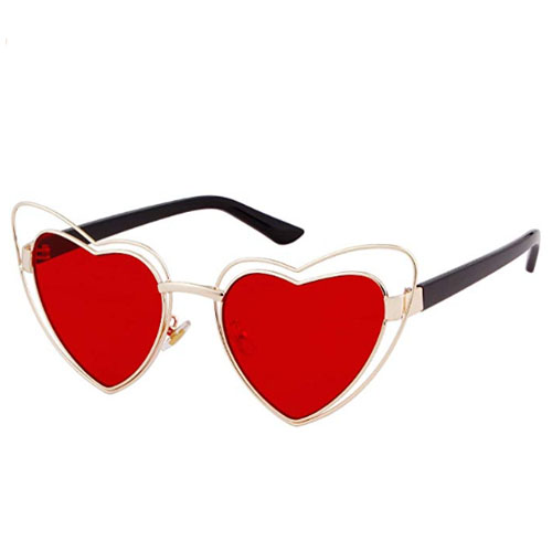 Cat heart shaped sunglasses with red colored lenses