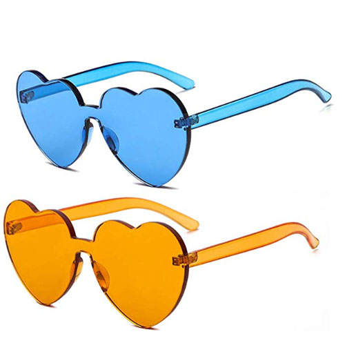 Blue and orange 2 pack party cheap heart shaped sunglasses