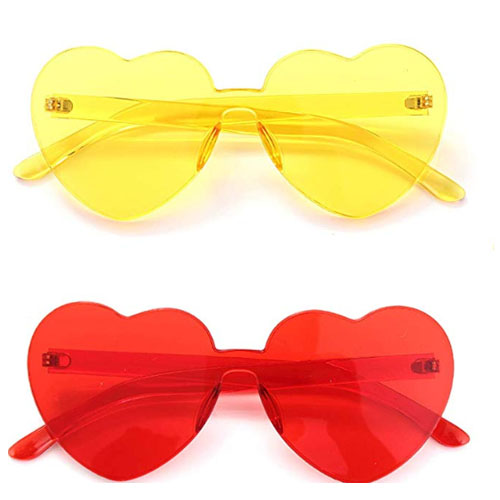 Red and yellow party pack sunglasses with the heart symbol on its shape
