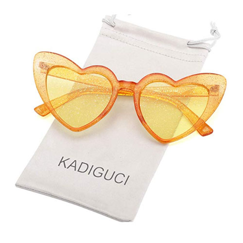 Cat frame heart shaped sunglasses in orange color