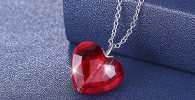 Red ruby heart shaped pendant