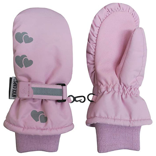 Pink heart waterproof gloves for snow