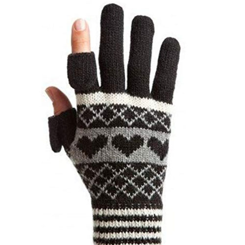 Stylish gloves with hearts and removable finger