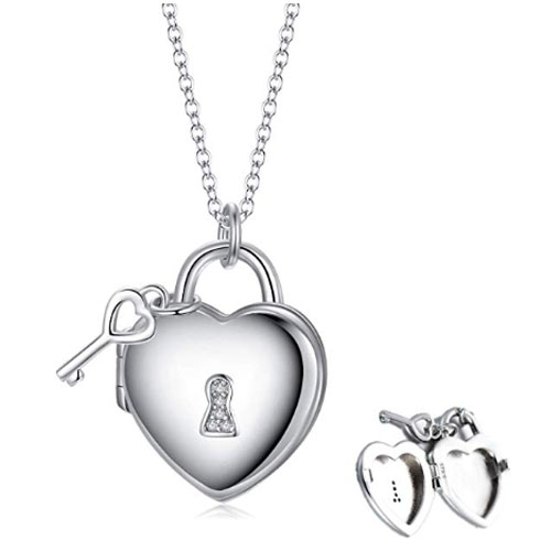Polished heart shaped locket pendant with key with photo inside