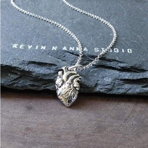 sterling silver anatomical heart charm