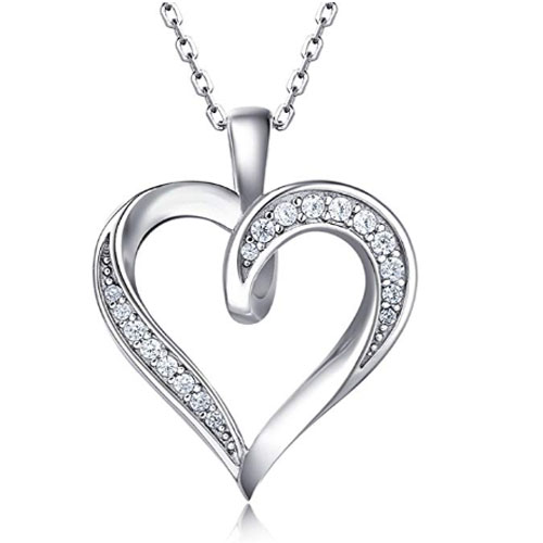 stylish heart necklace pendant sterling silver with diamonds
