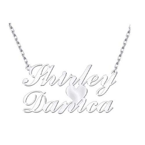 Sterling silver heart pendant with customized names