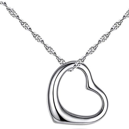 polished sterling silver heart pendant gift for girlfriend under $20