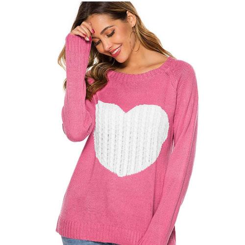 pink women heart sweater